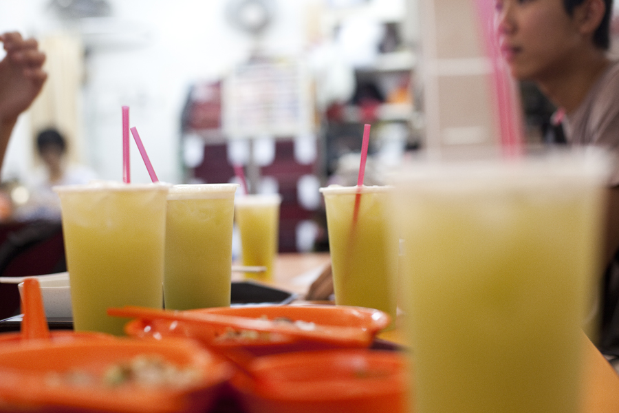 Sugar cane drinks at Clementi Hawker Center.