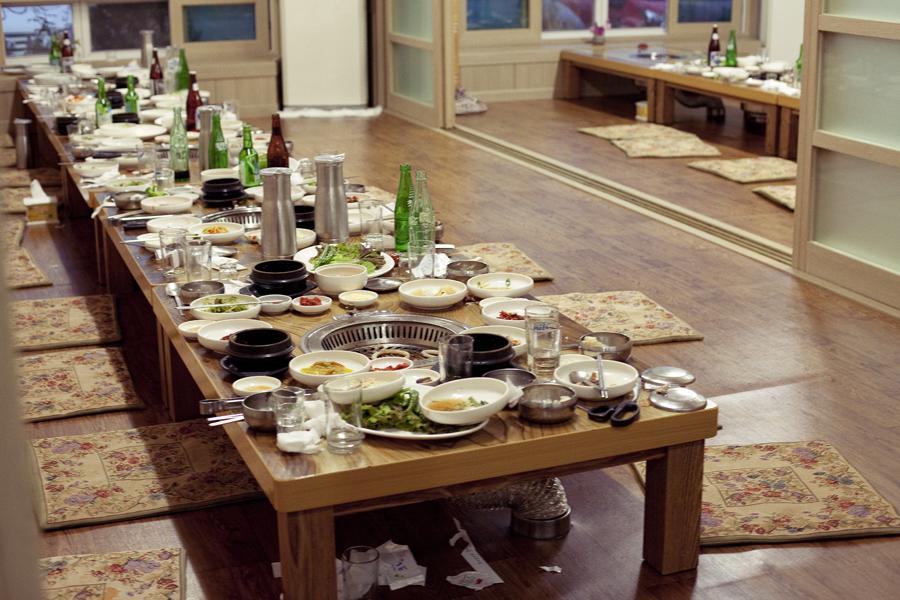 Aftermath of Teachers' dinner.