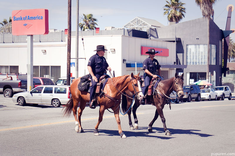 Policemen on horses at Venice beach, Los Angeles.