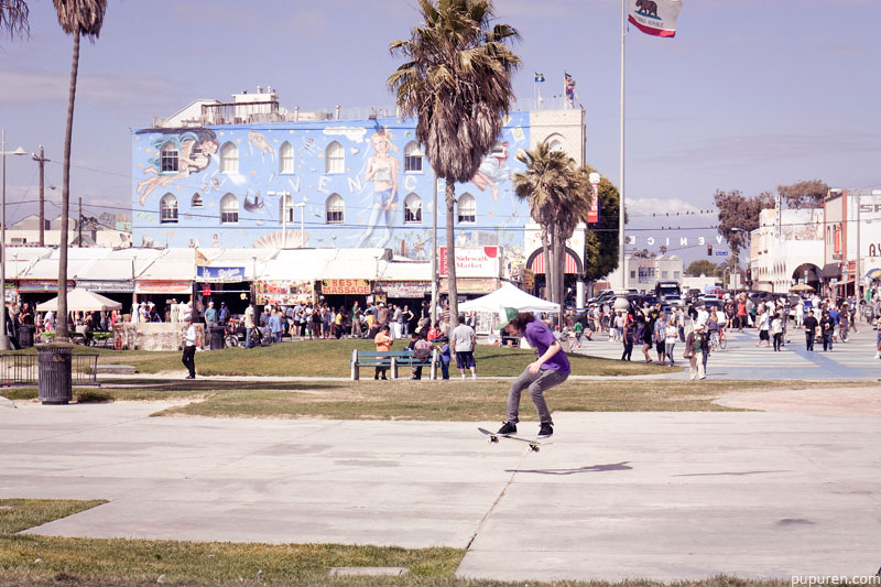 Skateboarder at Venice beach, Los Angeles.
