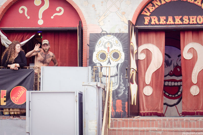 Freakshow circus in Venice beach, Los Angeles.