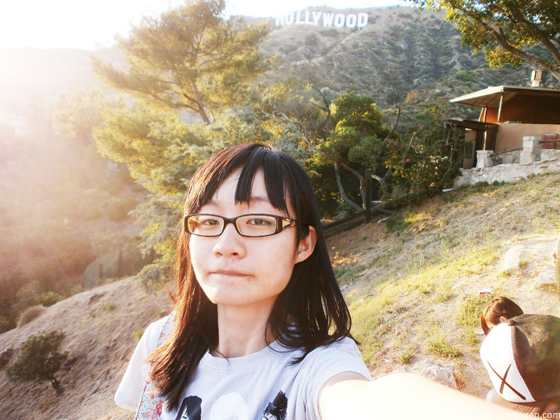 Selfie in front of the Hollywood sign in Los Angeles.