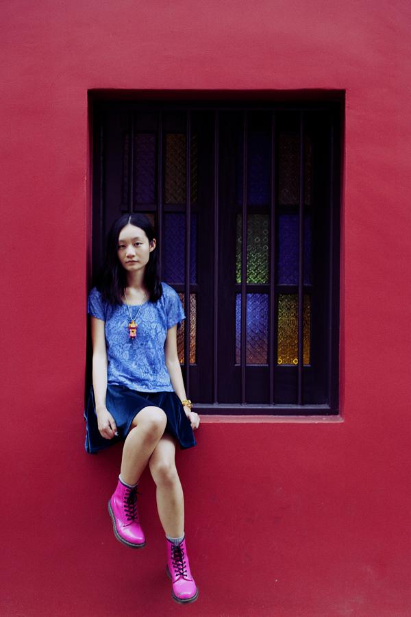 OOTD - Cotton On blue velvet dress, Forever 21 powder blue lace crop top, Dr. Martens hot pink lamper boots.