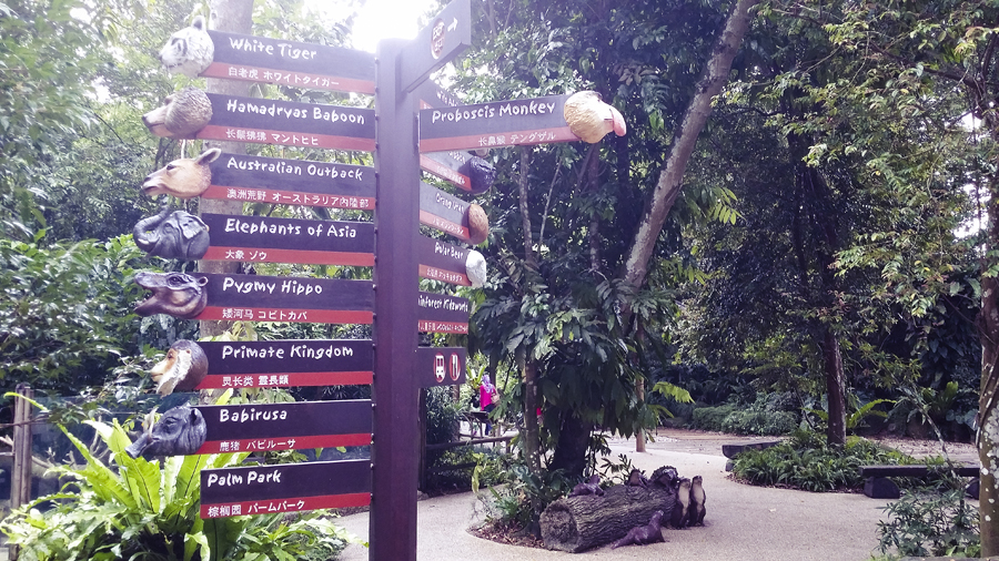 Signs to the animal enclosures at the Singapore Zoo.
