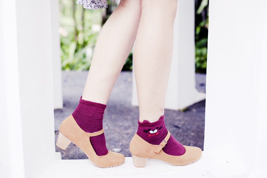 Magenta bear socks from Kiki Socks and brown mary jane heels from Mixit.