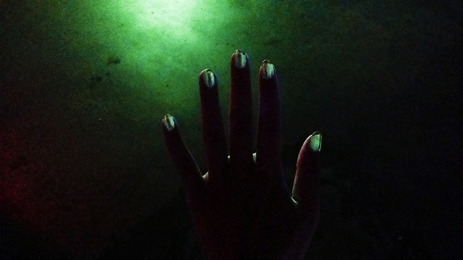 My glow-in-the-dark nails at the VanityTrove Get, Snap, Blingo project launch party.