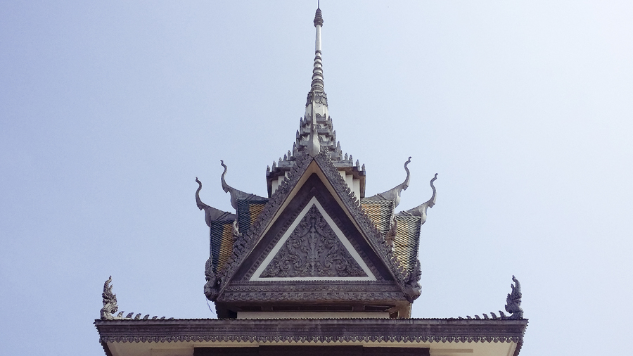 Top of the stupa at the Choeung Ek Killing Fields in Phnom Penh, Cambodia.