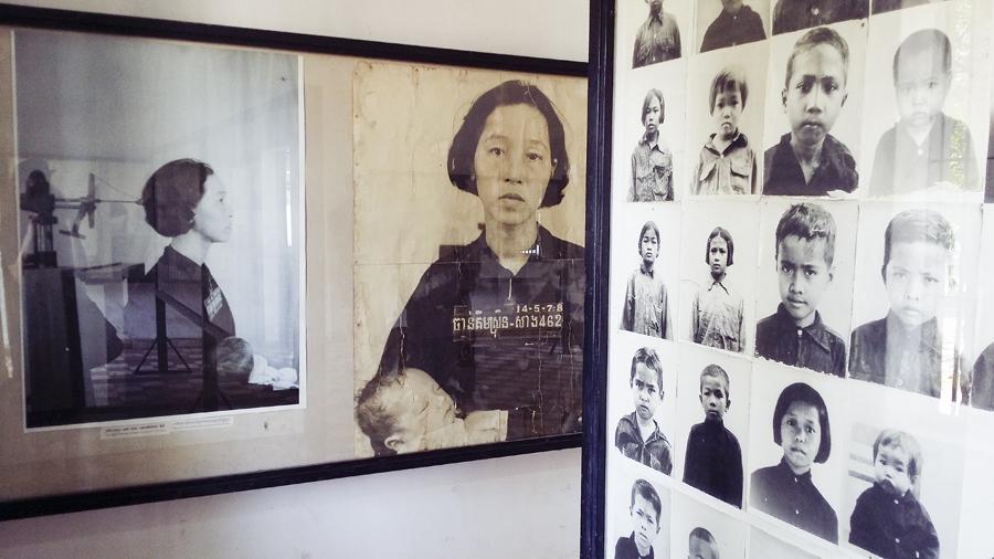 Inmate portraits at Tuol Sleng (S21) in Phnom Penh, Cambodia.