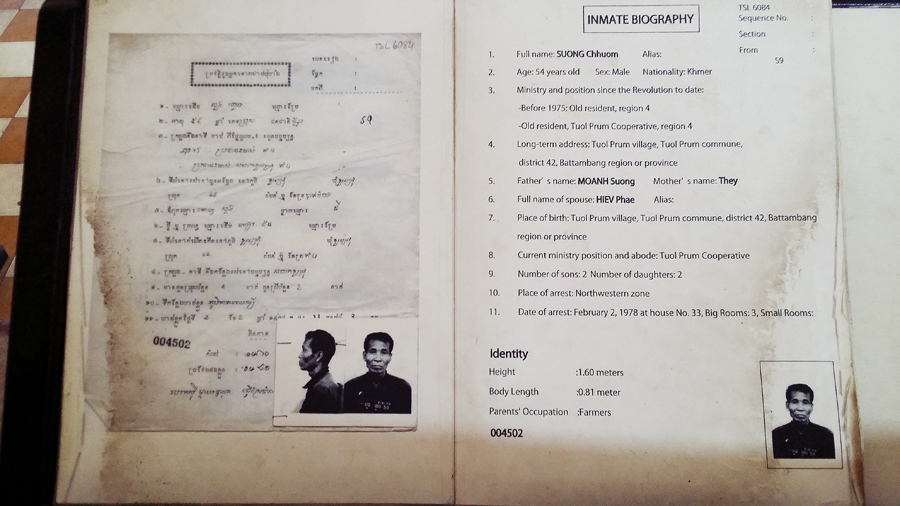 Inmate biography at Tuol Sleng (S21) in Phnom Penh, Cambodia.