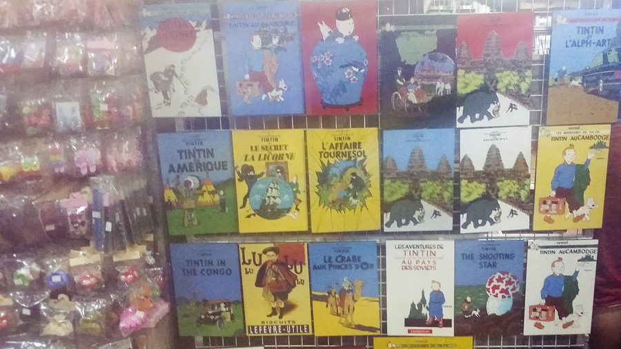 The Adventures of Tintin souvenirs in Pub Street, Siem Reap, Cambodia.