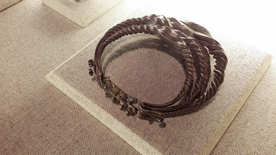 Miao silver-plated, twisted copper neckband from the 1st half of the 20th century at the Shanghai Museum.