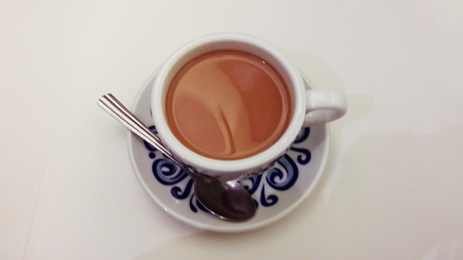 Milk tea at Cui Hua Restaurant in Shanghai.