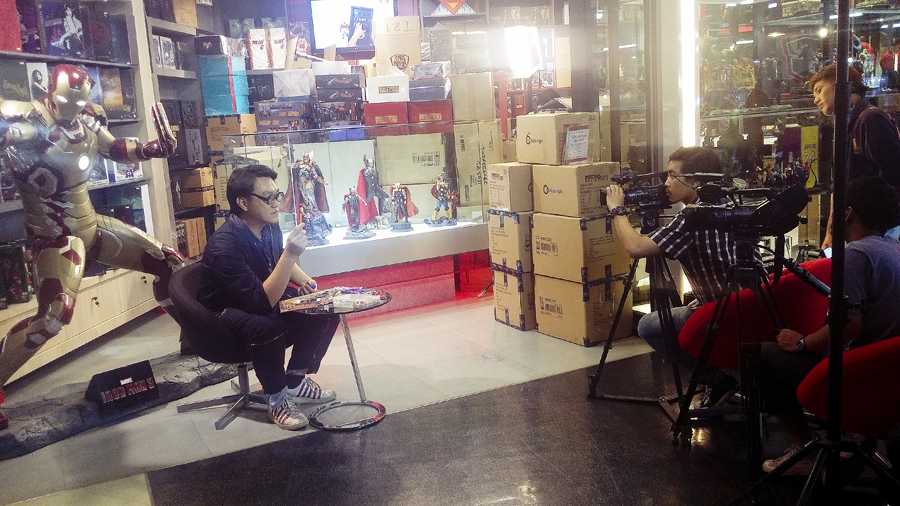 Filming of toys and figurines at Terminal 21 at Bangkok, Thailand.