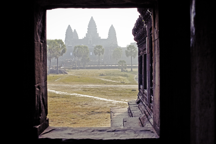 Angkor Wat silhouette, Cambodia.