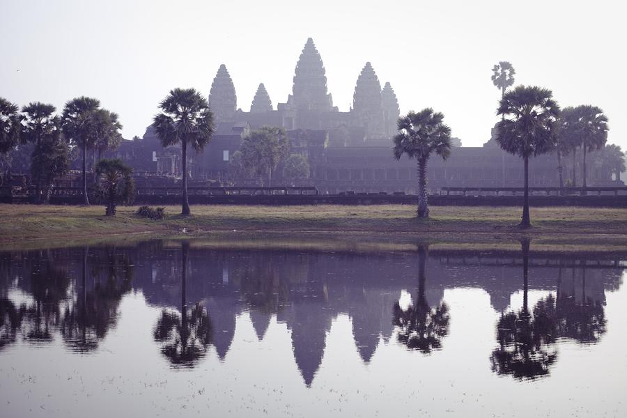 Mirrored Angkor Wat, Cambodia.