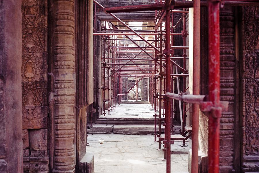 Restoration project at Ta Prohm, Cambodia.