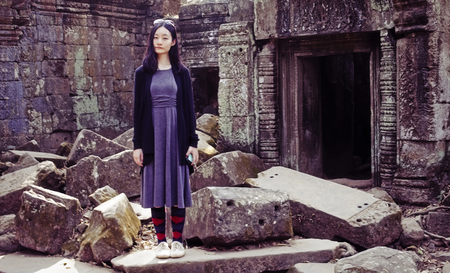 Outfit at Angkor and Ta Prohm. OOTD - K Petit dress, Hue argyle socks, Rubi shoes, Moda at George cardigan.