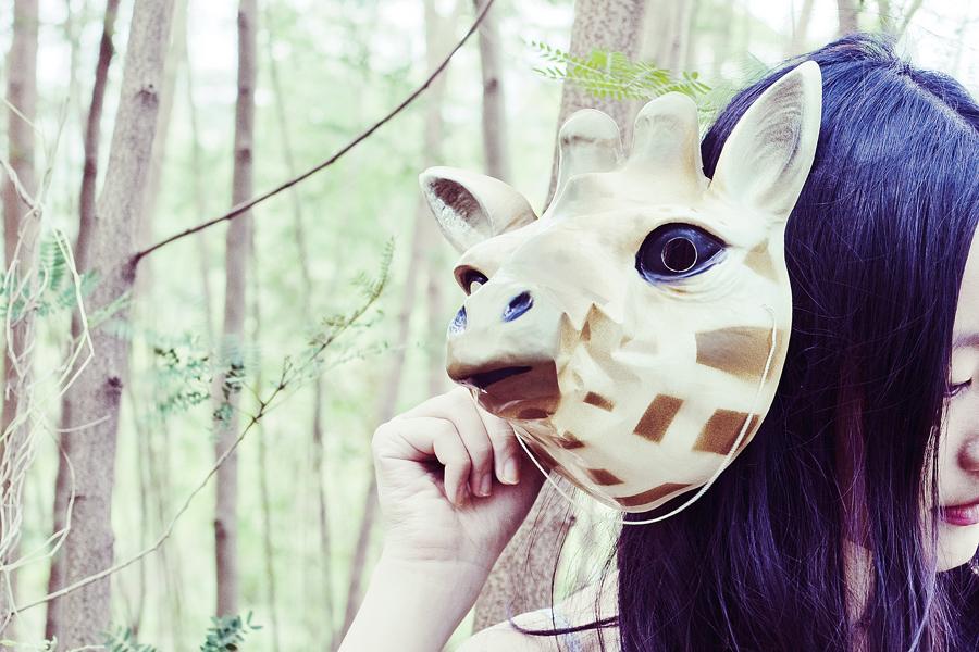 Giraffe mask.