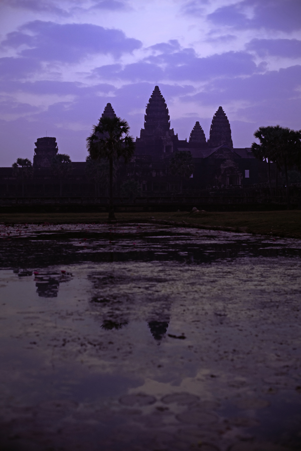 Silhouette of Angkor Wat at dawn, Cambodia.