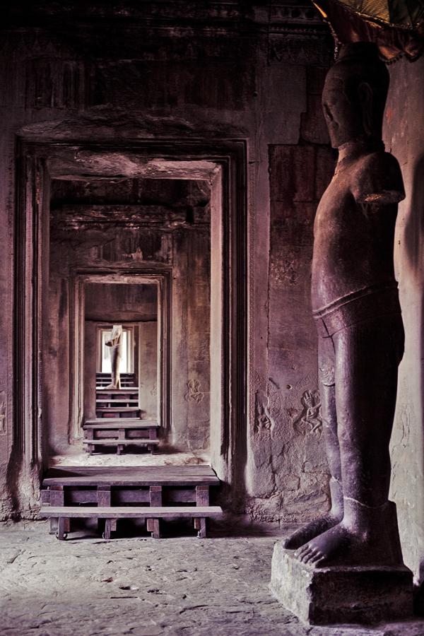Statues inside Angkor Wat, Cambodia.