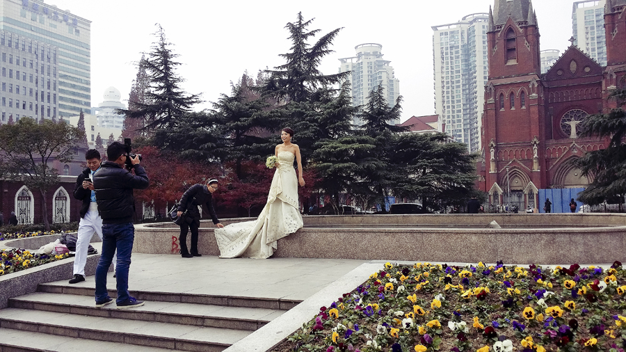 Wedding photoshoot in front of St. Ignatius Cathedral, Shanghai.