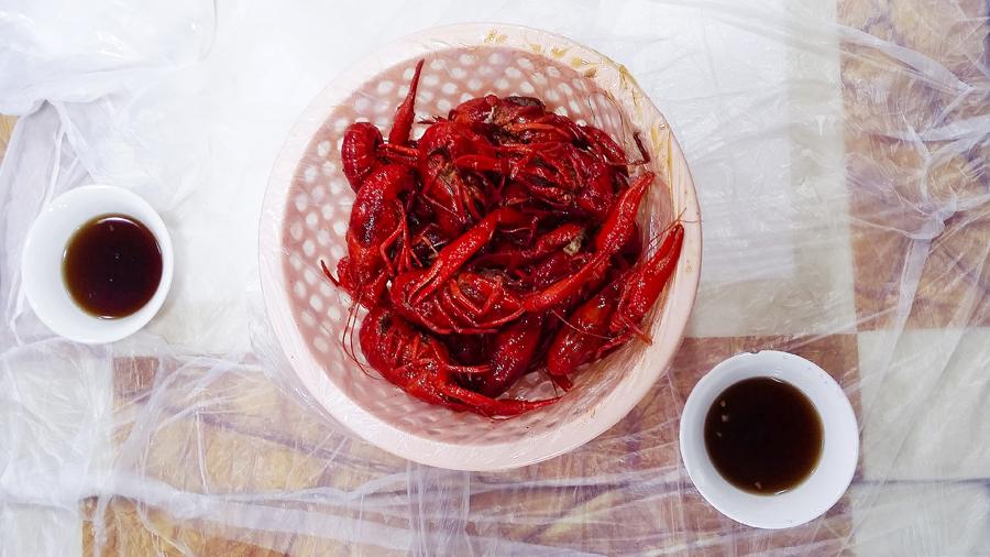 Bowl of crayfish in Shanghai, China.
