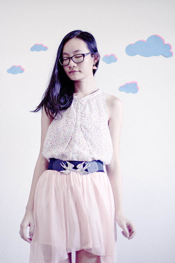 OOTD: Forever 21 polka dot chiffon top, Accessorize swallow belt, light pink chiffon skirt.