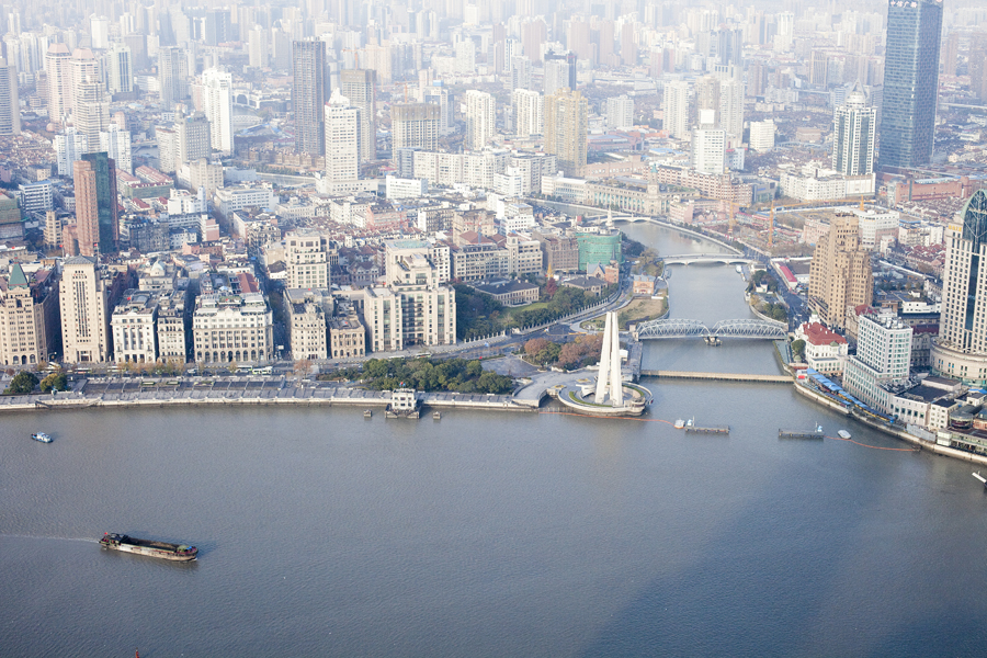 View of the skyline at the Bund from the Oriental Pearl Tower, Shanghai.