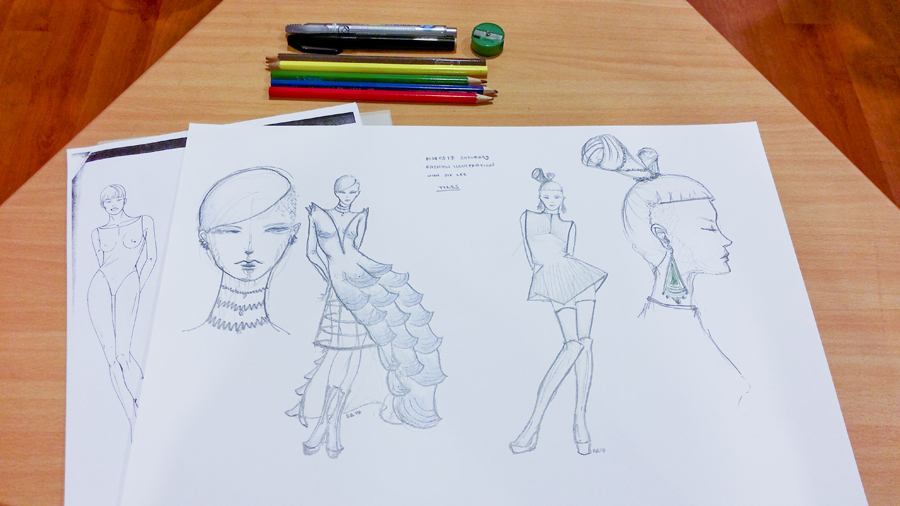 Fashion illustration design at a library event in Singapore.