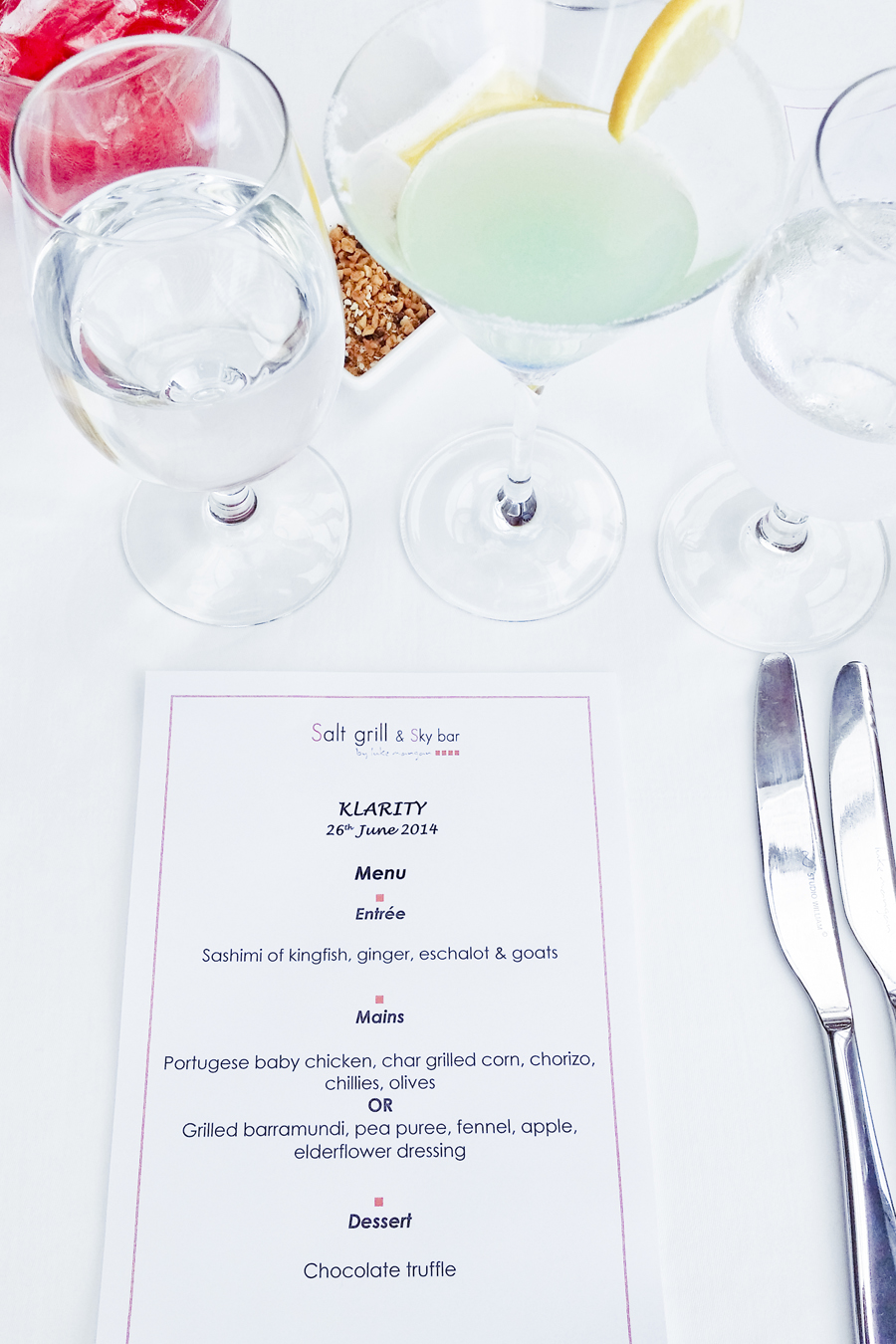 Brunch menu at the Klarity Beauty Brunch event at the Salt Grill & Sky Bar.
