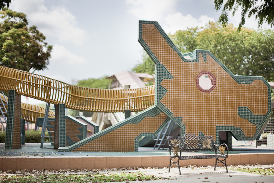 Brick dragon playground in Singapore.