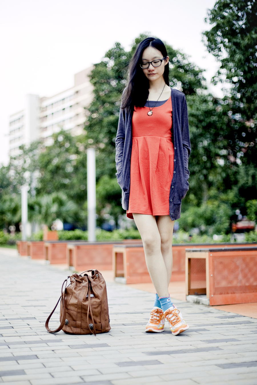 Outfit of the day (#ootd)- Forever 21 orange-red sleeveless dress, Target slate boyfriend cardigan, The Sock Market turquoise fish socks, Skechers neon orange sneakers, Gentle Fawn brown leather hobo sling bag.