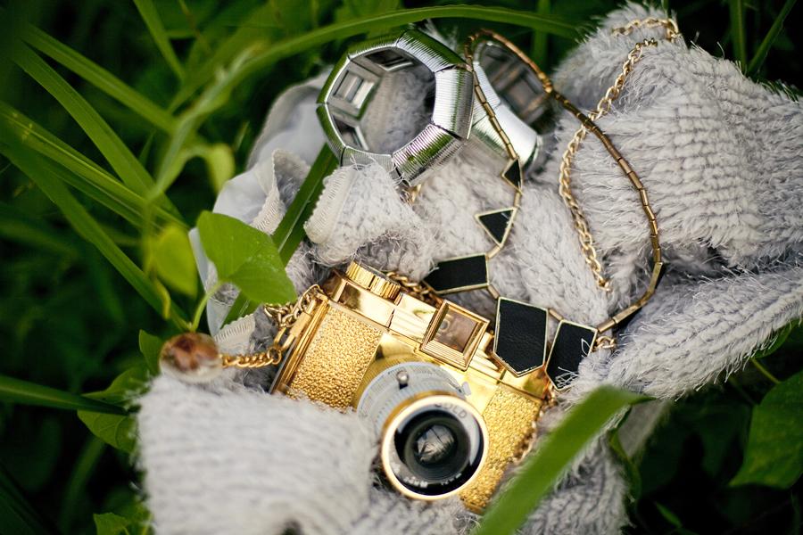 Cotton On silver bangles, Lomography limited edition gold holga camera, Wanko grey coat.