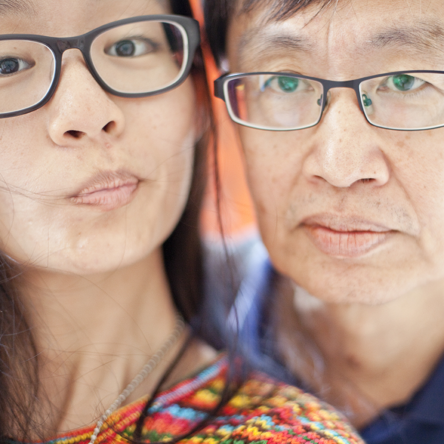 Bespectacled selfie with dad.