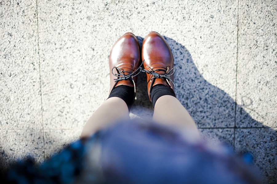 From where I stand: brown oxford heels.