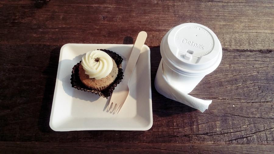 Earl Grey tea and Earl Grey Lavender cupcake at Plain Vanilla Bakery.