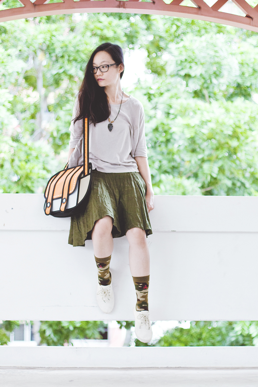 Forever 21 dolman sleeve top, agate necklace from Natural History Museum in Washington, Gap black rim glasses, Stance camo socks, Cotton On lace-ups, green flare skirt, orange 2D sling bag.