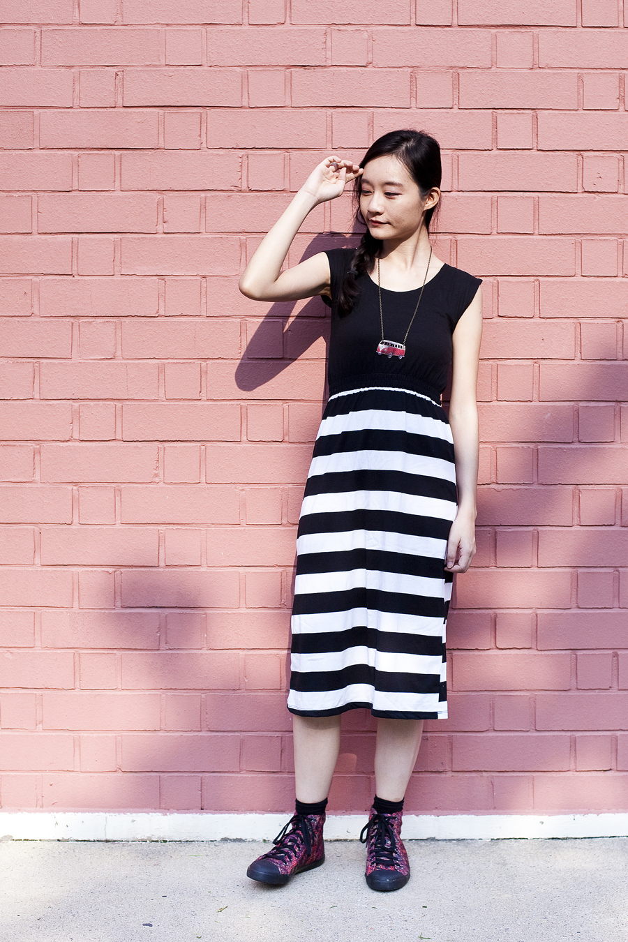 Flesh Imp striped dress, Taobao black socks, Puma McQ high top sneakers from Shopbop, red bus bronze necklace from Bugis Village.