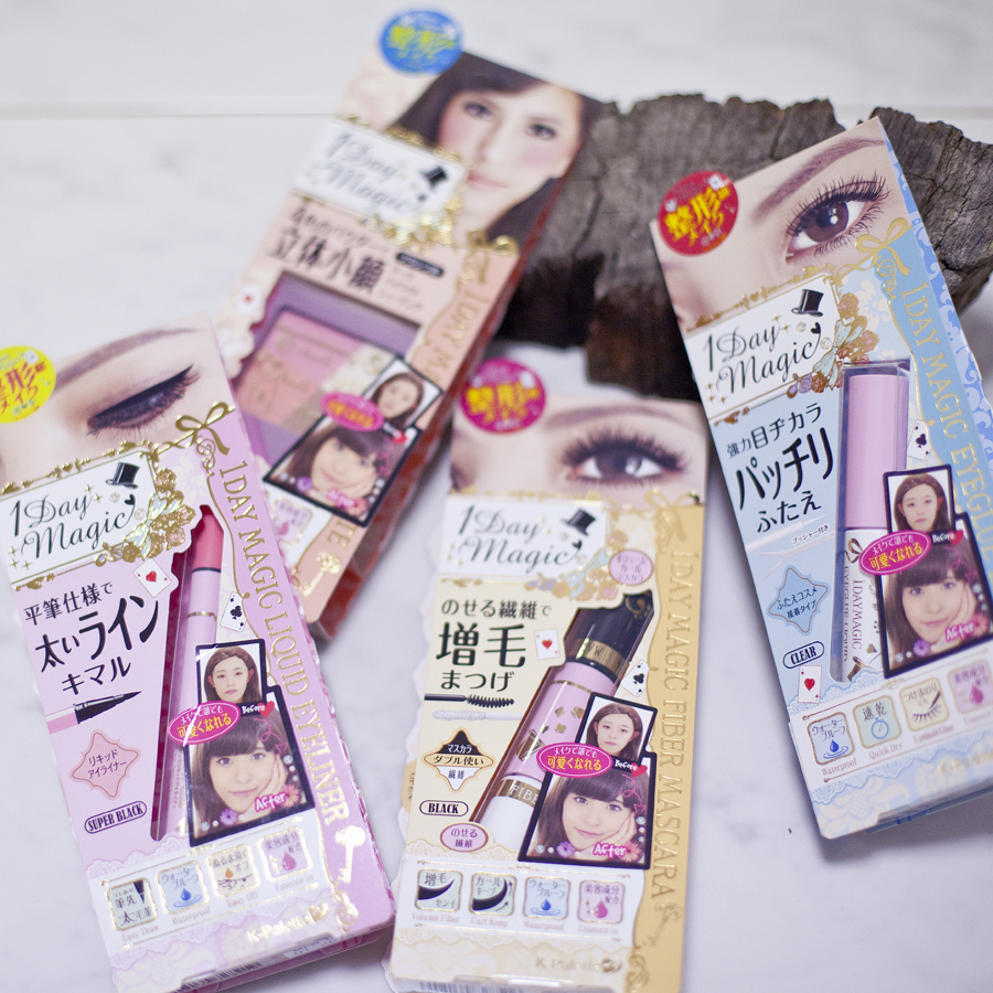 K-Palette 1 Day Magic series cosmetics- 1 Day Magic Liquid eyeliner, 1 Day Magic contouring palette, 1 Day magic fibre mascara, 1 Day Magic eyelid glue.