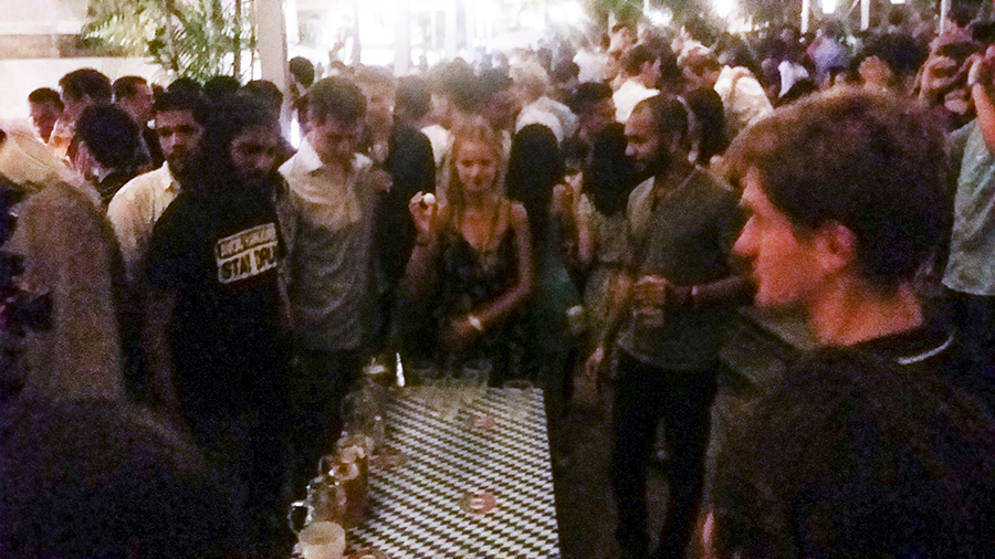 Beer pong at the Oktoberfest The Beer Garden at the Fullerton Hotel.
