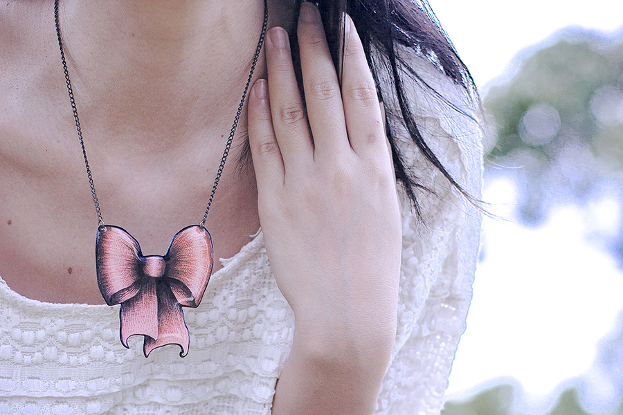 La Marelle pink bow metal necklace, Mouth Valley cream lace top.