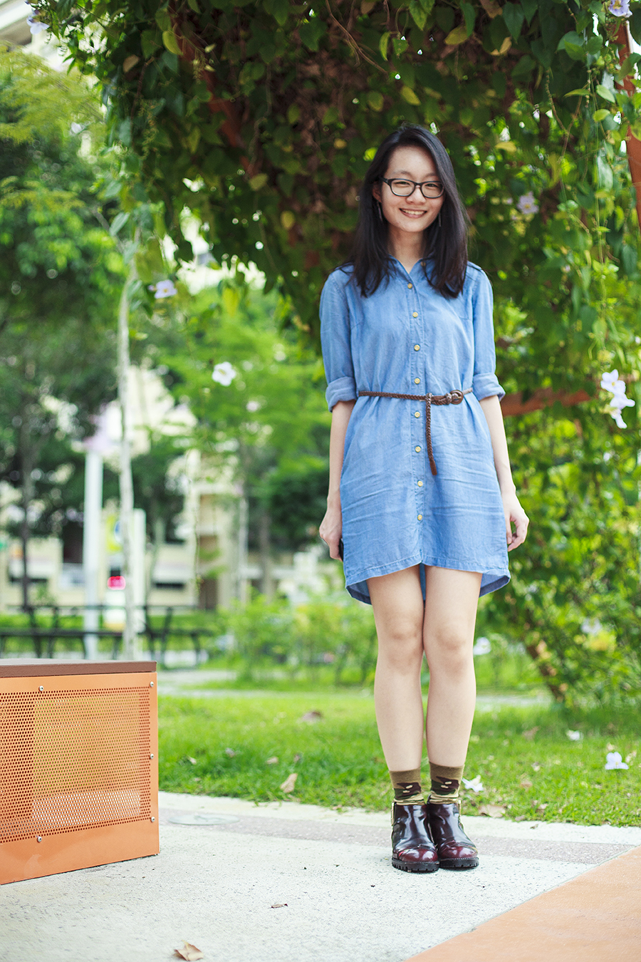 Uniqlo denim long-sleeved dress, brown braid thin belt, Gap black frame glasses, Stance green camouflage socks, Jeffrey Campbell Flamel cutout booties in wine.