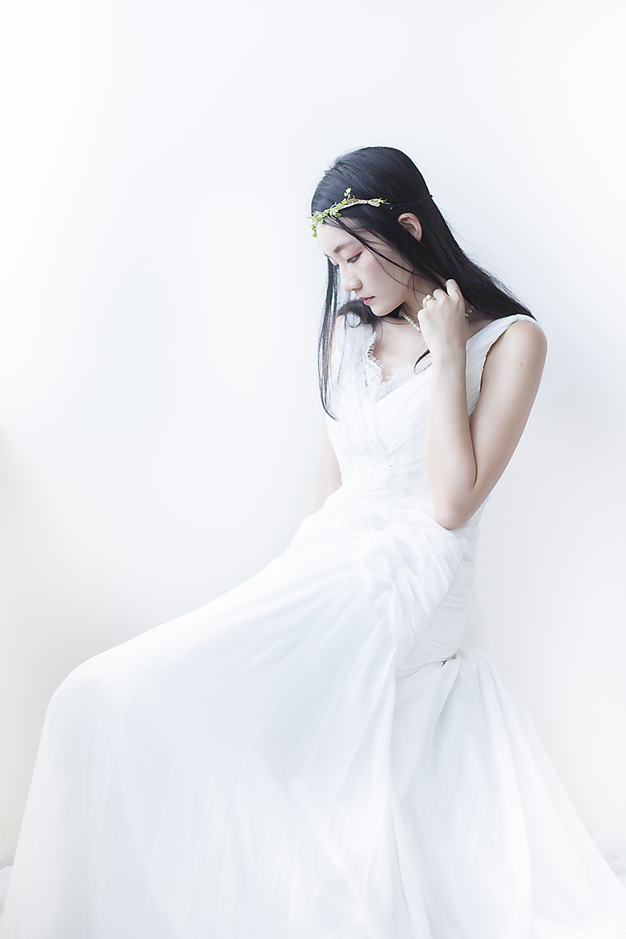 Rosa Novias white wedding gown, Paris Kids floral headband, handed down pearl necklace and pearl ring.