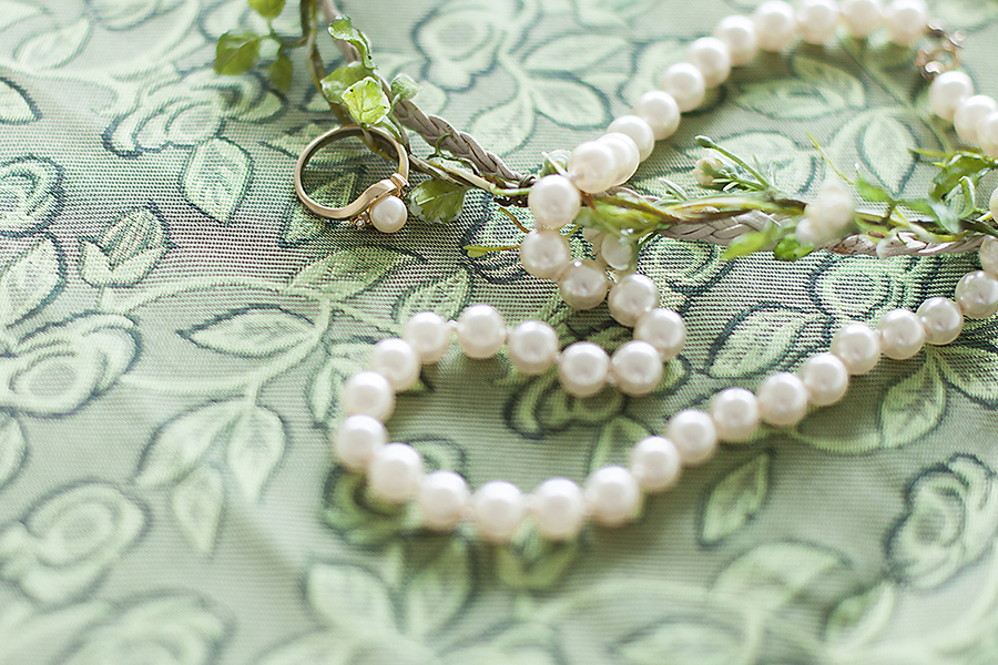 Paris Kids floral headband, handed down pearl necklace and pearl ring.