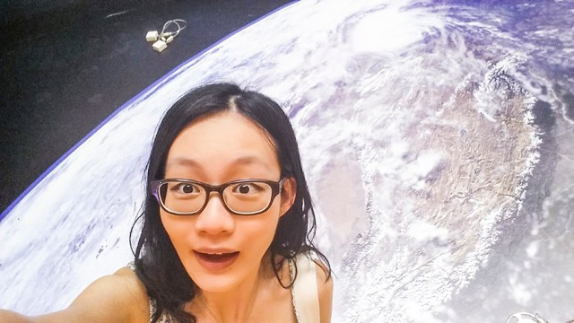 Selfie with planet earth from outer space.