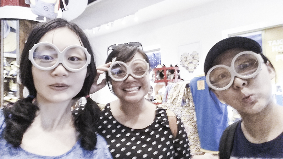 Wearing minion goggles merchandise from Universal Studios Singapore.