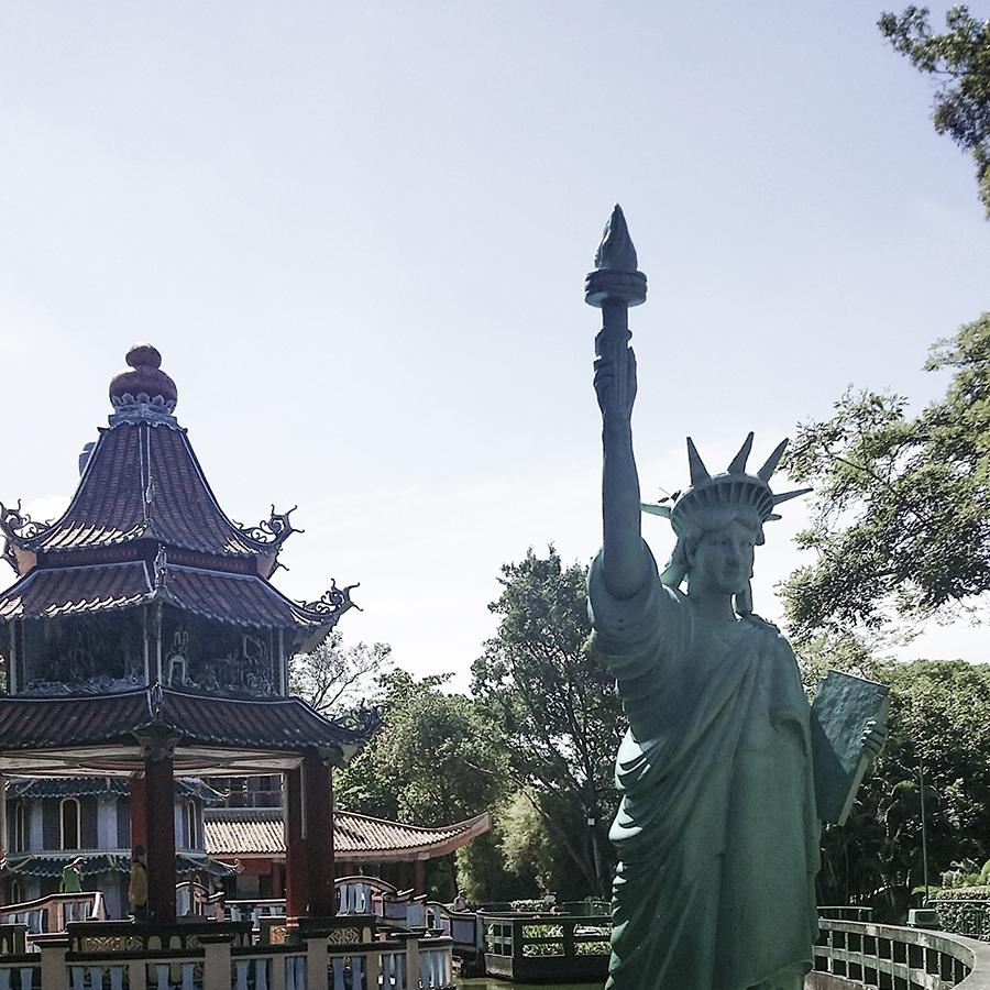 Statue of Liberty replica at Haw Par Villa, Singapore.