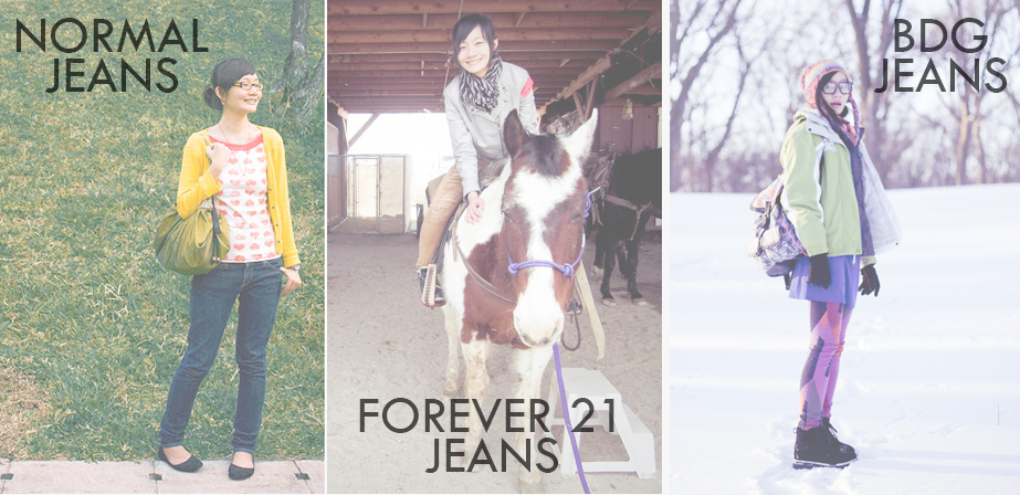 My wardrobe of jeans: Skinny jeans from Japan, Ripped jeans from Forever 21, purple jeans from BDG Urban Outfitters.