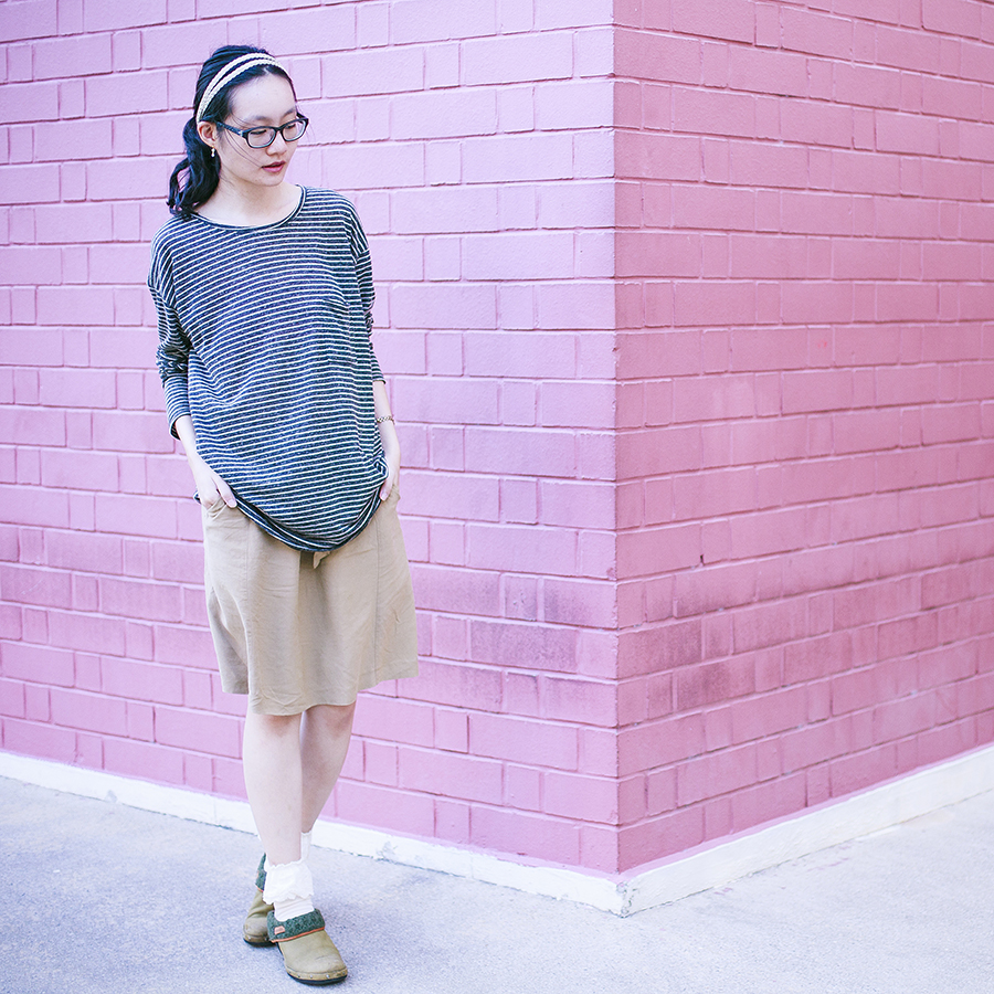 Twisted Sisters eye bracelet from Zalora, lace socks from Tutu-Anna, braided hairband from Forever 21, striped top from Zara, Gap black frame glasses, Merrell olive green clogs.