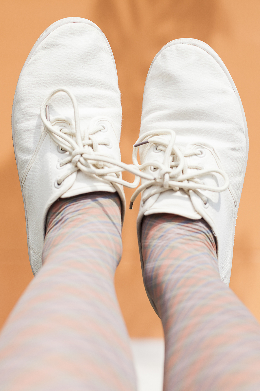 Topshop orange plaid tights, Cotton On beige lace-ups.